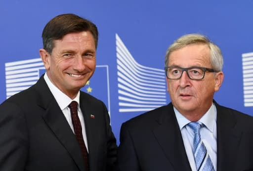 Le président slovène  Borut Pahor et le président de la Commission européenne le 20 octobre 2015 à Bruxelles