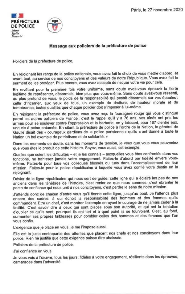 Le courrier envoyé par Didier Lallement