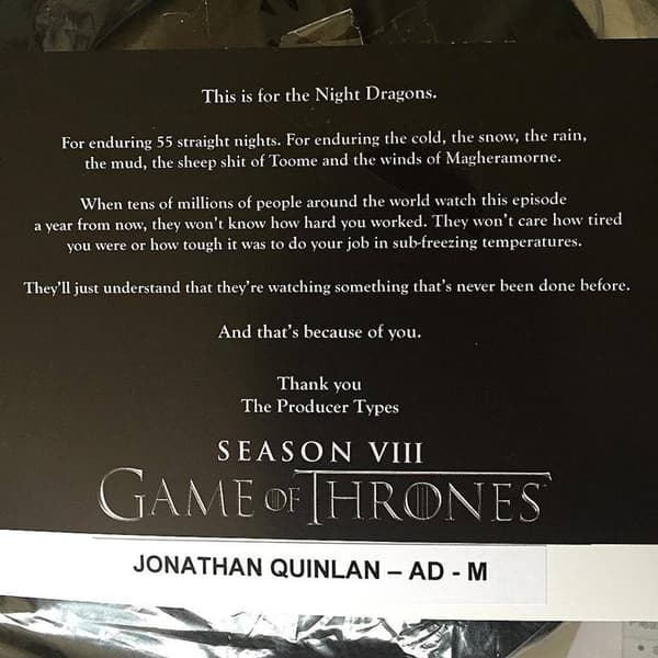 Le message de l'assistant réalisateur de Game Of Thrones, depuis supprimé d'Instagram