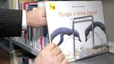 """A la bibliothèque municipale du Chesnay, le livre pour enfants """"Tango a deux papas"""" est désormais rangé sur un rayon adulte."""