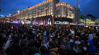Manifestation de soutien à l'opposant russe emprisonné Alexeï Navalny, le 21 avril 2021 à Moscou (photo d'illustration)