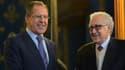 Lakhdar Brahimi, à droite, a rencontré le ministre des Affaires étrangères russe, à gauche, pour évoquer un potentiel accord.
