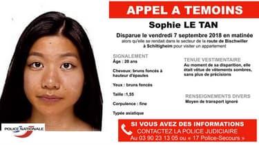 Sophie Le Tan a disparu depuis le vendredi 7 septembre au matin