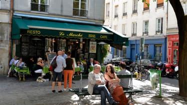 La place du marché Sainte-Catherine, dans le IVe arrondissement de Paris