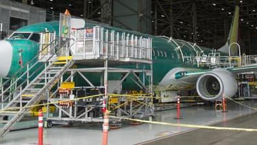 Un avion Boeing en cours de construction. (image d'illustration)