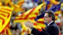 Meeting électoral d'Artur Mas, président nationaliste de la communauté autonome, à Barcelone. Au-delà de l'affirmation d'une identité culturelle, les velléités sécessionnistes de la Catalogne expriment aussi désormais une frustration croissante à l'égard