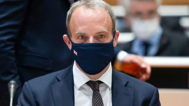 Le chef de la diplomatie britannique Dominic Raab lors de discussions sur Chypre, le 28 avril 2021 à Genève