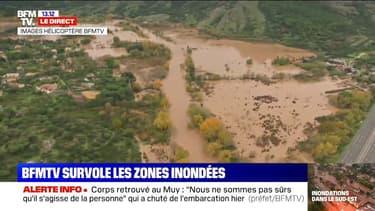 Les Alpes-Maritimes sont touchées par de fortes inondations. BFMTV a pu survoler en hélicoptère les zones sinistrées.