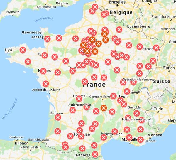 Les points de blocage de ce mardi en France