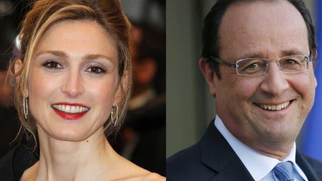 L'actrice Julie Gayet et le président de la République François Hollande.