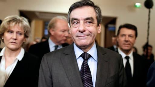 François Fillon, Nadine Morano, Chritian Estrosi et Brice Hortefeux, à la Maison de la Chimie le 20 février, à l'occasion de la réunion des Amis de Sarkozy.