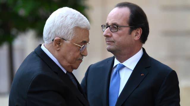 François Hollande et Mahmoud Abbas, le président de l'Autorité palestinienne, le 21 juillet 2016 à l'Élysée