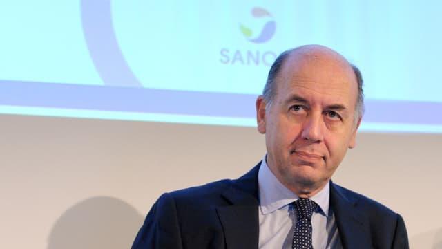 Serge Weinberg lors de la présentation des résultats de Sanofi ce jeudi 5 février
