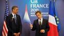 Le président Barack Obama et son homologue français Nicolas Sarkozy réunis à Deauville à l'occasion du sommet du G8. Les Etats membres du G8 vont fournir une aide financière aux pays arabo-musulmans engagés sur la voie de la démocratie, selon le projet de