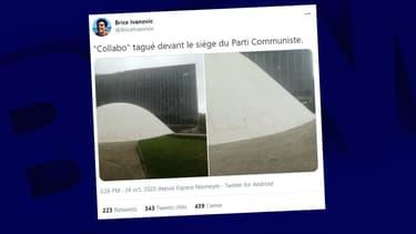 La façade du PCF taguée à Paris