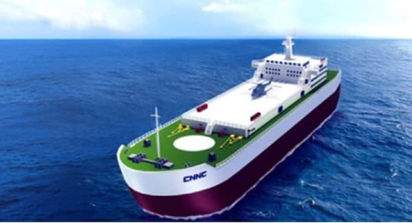 """Illustration du projet de """"centrale nucléaire flottante"""" imaginé par la compagnie CNNC."""