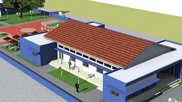 La maquette d'une partie de la Bluezone ouverte à Cotonou par Bolloré: accès à l'électricité propre ainsi qu'à l'eau potable