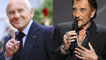 l'écrivain Jean d'Ormesson et le chanteur Johnny Hallyday.