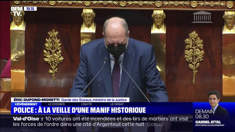 """Éric Dupond-Moretti sur la manifestation des policiers: """"Police et justice sont dans la même barque républicaine"""""""
