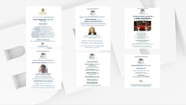 Des cartons d'invitation évoquant la tenue de différents événements entre octobre 2020 et avril 2021, et auxquels le chef Christophe Leroy est soupçonné d'avoir participé.