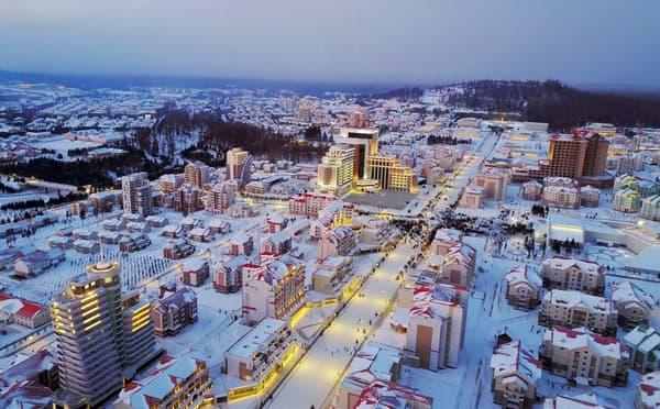Vue aérienne de la ville de Samjiyon, inaugurée le 2 décembre 2019