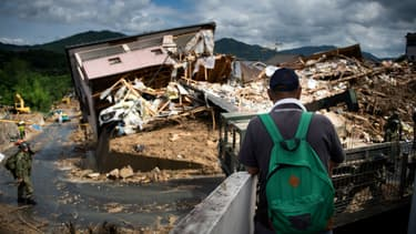 Une maison dévastée par les intempéries à Kumano, au Japon, le 9 juillet 2018