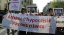 Une manifestation contre la loi pénalisant les clients des prostitué.e.s en France le 8 avril 2017 à Paris.