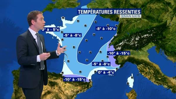 Les températures ressenties annoncées pour le jeudi 22 février.