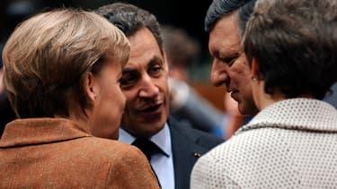 Nicolas Sarkozy, en compagnie d'Angela Merkel et de José Manuel Barroso.