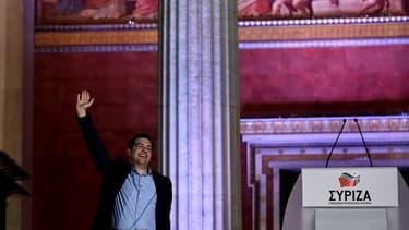 Le leader du parti grec Syriza, Alexis Tsipras, dimanche 25 janvier, après sa victoire, à Athènes.