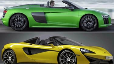 A quelques heures d'intervalle, Audi a dévoilé sa nouvelle R8 V10 Plus Spyder, et McLaren la 570S Spider.