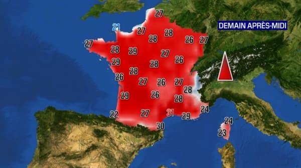 Les températures pour ce mercredi après-midi