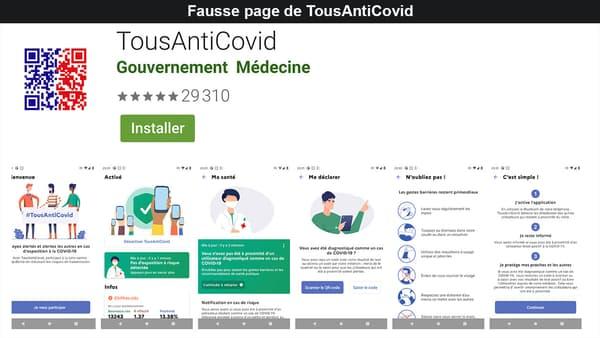 Capture d'écran du site pirate imitant le Google Play Store