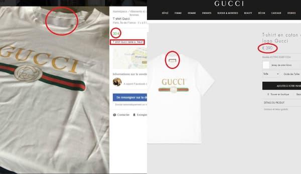 À gauche, l'annonce Facebook et à droite le modèle sur le site de Gucci