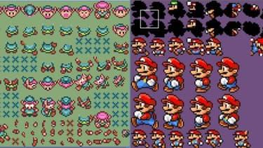 A gauche, le personnage de Link, le héros de la série The Legend of Zelda, et à droite, Mario