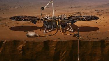 Vue d'artiste de la sonde InSight sur Mars.