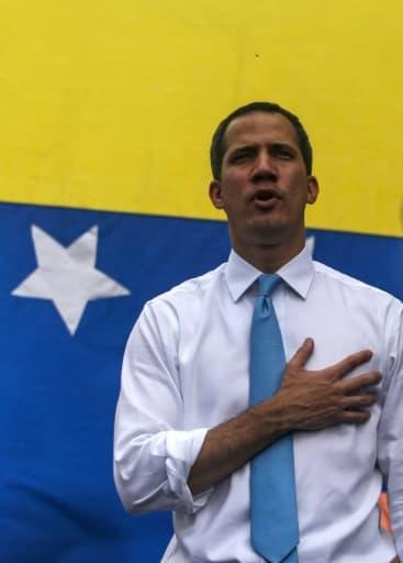 L'opposant vénézuélien Juan Guaido lors d'une manifestation à Caracas, le 10 mars 2020