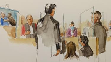 Siegfried Mahé a dessiné la reconstitution du meurtre diffusée à l'audience.
