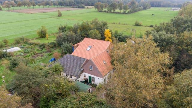 Une vue aérienne de la ferme.