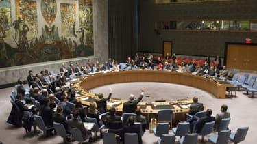 Le Conseil de sécurité de l'ONU lors d'un vote, le 3 mars 2015 au siège des Nations Unies à New York. -