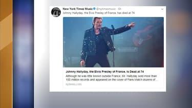 """Le quotidien américain The New York Times évoque Johnny Hallyday comme """"l'Elvis Presley de France"""""""