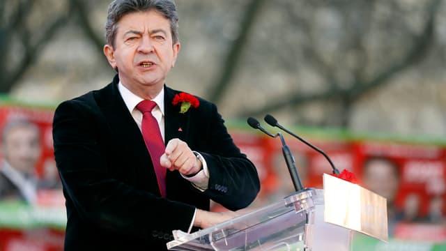 Jean-Luc Mélenchon lors d'un meeting du Parti de gauche à Paris, le 16 mars 2014.