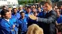 Nicolas Sarkozy, devant les employés de l'usine Valinox Nucléaire de Montbard, en Côte d'Or. Le chef de l'Etat a saisi l'occasion d'une visite dans cette usine pour faire la pédagogie de sa réforme des retraites, faisant part de sa détermination à la mene