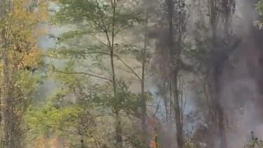 La Tesla Model S en feu, près de Bayonne