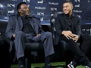 Pelé et Kylian Mbappé en avril 2019