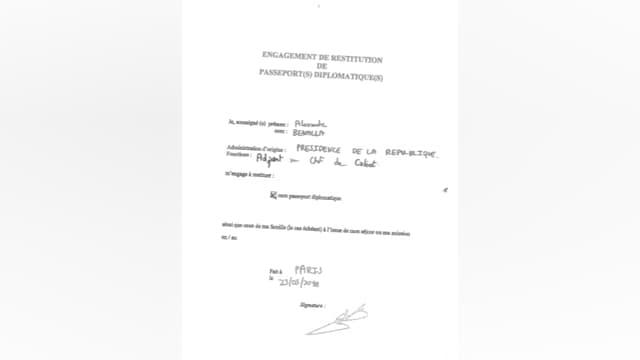 La lettre d'engagement de restitution des passeports diplomatiques, signée par Alexandre Benalla en mai 2018.