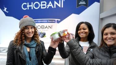 Chobani s'associe à des stars pour promouvoir ses produits, ici la surfeuse des neiges Lindsay Jacobelli en 2013