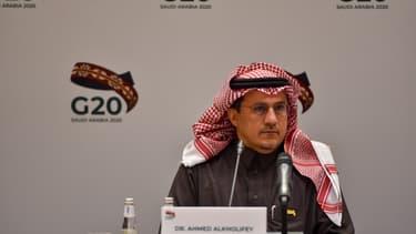 Le gouverneur de la Banque centrale d'Arabie Saoudite, Ahmed Alkholife, lors d'une réunion du G20 en février 2020.