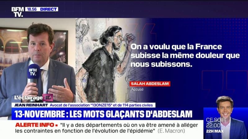 """Me Reinhart: Salah Abdeslam """"dit des choses qui ne sont pas audibles pour nous, mais il parle"""""""
