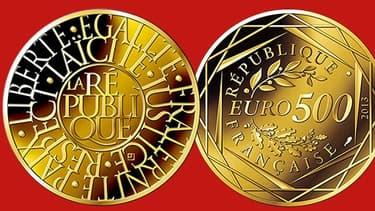 """La pièce de 500 euros en or va enrichir la collection """"Valeurs de la république"""""""